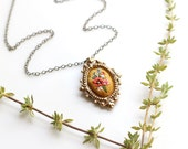 Little Poppy and larkspur- hand embroidered necklace, black, floral, wildflowers, flowers, red, blue, yellow