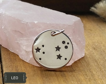 Silver Disc Pendants,Sterling Silver Leo Zodiac Constellation Discs,Leo Astrological Sign,Birthday,Personalized Star Necklace,Constellation