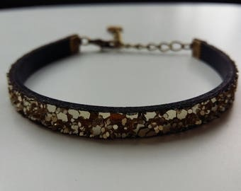 Bracelet leather gold glitter