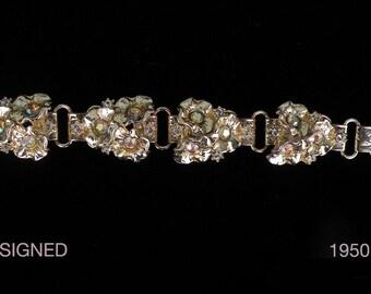 Fifties, lovely bracelet goldtone, rhinestones
