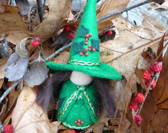 Holly Wool Felt Witch, Peg Doll Witch, Waldorf Inspired, One of a Kind,Christmas  Minature Witch