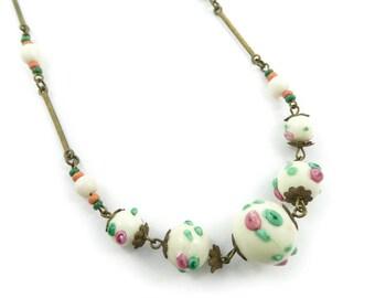 Antique Murano Bead Necklace, Wedding Cake Beads, P29