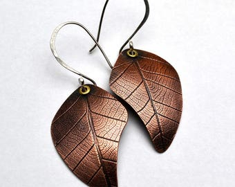 Copper Earrings Rolling Mill Texture Skeleton Leaves Sterling Silver Ear Wires