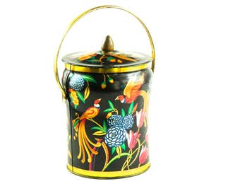 Birds of Paradise / Fire Birds on a Beautiful Enamel Tin Canister by Murray Allen