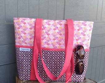Coral Tote Bag, Women's Work Bag, Business Handbag, Quilted Tote bag, Large Fabric Bag, Large Purse, Handmade Bag, Bag with outside pockets