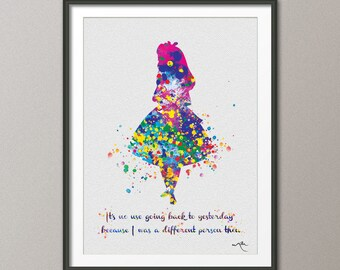 Alice in Wonderland, Alice in Wonderland Quote, Watercolor Print, Alice, Alice in Wonderland Decorations, Nursery Wall Art, Wall Decor-1