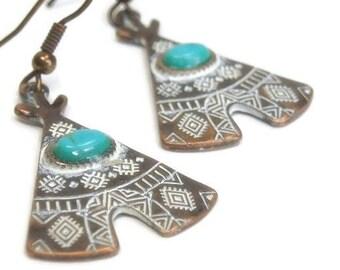 Sale  Copper Teepee Earrings, Tribal Earrings, Turquoise Earrings, Native, Tribal Earrings, Southwestern, Dangle, Blue Stone, Southwest Jewe
