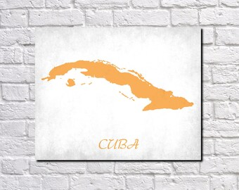 Cuba Map Print Map of Cuba Country Map Poster Cuban Gift Home Decor Wall Art