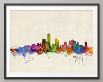 Milwaukee Skyline, Milwaukee Wisconsin Cityscape Art Print (972)