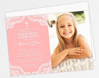 First Communion Invitation, First Holy Communion Invitation, Photo Communion Invitation, DIY Invite, PDF, Lace, Purple, Printable, Miranda
