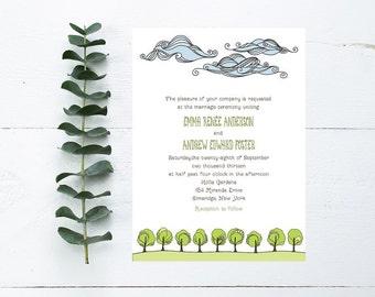 Nature Wedding Invitations - Clouds, Trees, Grassy Theme - Outdoor Wedding Invitation