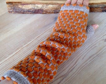 Pure Wool Arm Warmers, Funky Fingerless Gloves, Bobble Fingerless Mitts, Orange and Natural Mitts
