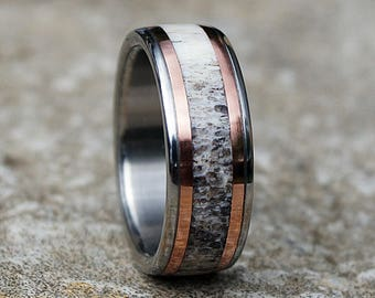 Natural deer antler titanium ring with copper inlay
