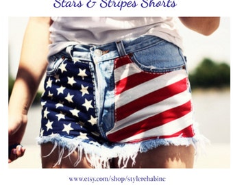 USA American flag jean Shorts. Red and white stripes on one side, blue and white stars. 4th of July. So Cute.