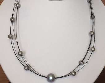 Gray Pearl Necklace- Silver Grey Pearls Necklace- Floating Pearl Necklace- Gray Freshwater Pearls.