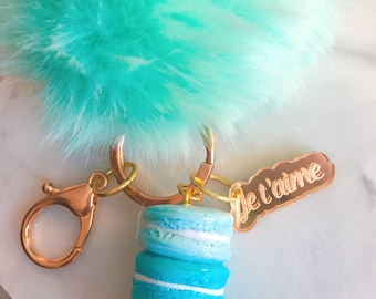 Fur Bag Charm - Fur Purse Charm -- Laduree Inspired -- Macaron Keychain -- Fur Pom Pom Keychain-- Aqua Faux Fur