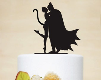 Batman And Catwoman Cake Topper - Custom Cake Topper - Wedding Cake Topper - Couple Silhouette - Personalized Cake Topper - P085