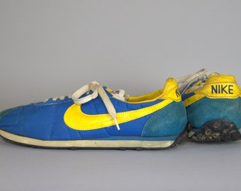 70s Nike Waffle Trainer Running Shoes Made in Japan Royal Blue and Gold Mens 11.5