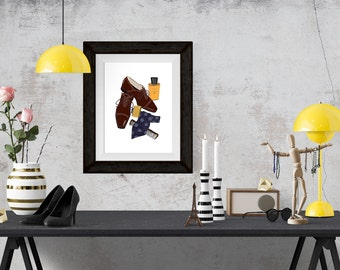 Cary Grant What's in my Bag Portrait Fashion Illustration Art Poster