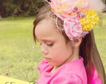 Pink and Yellow Lemonade Headband-Baby Headband,  Newborn Photo Prop- Infant Headband, Toddler, Girl-Photo Prop-Couture Headband