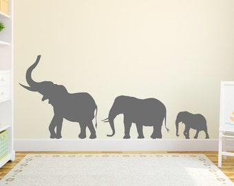 Marching Elephants Wall Decal - Elephant Wall Sticker, Nursery Decal Sticker, Elephant Wall Decor, Elephant Family Decal, Zoo Wall Decal