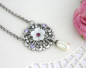 Purple wedding jewelry, Purple wedding necklace, Purple bridal jewelry, Purple silver wedding, Romantic Jewelry, Bridal Jewelry - Jasmine