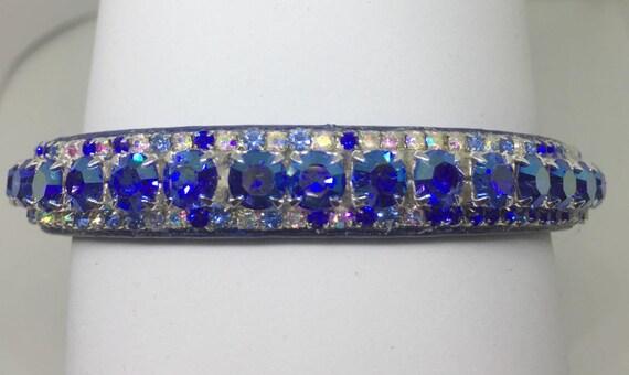 Cutie Pie Pet Collars TM ~Sapphire Blue Aurora Borealis AB~ Crystal Diamante Rhinestone Pet Dog Cat Collar USA