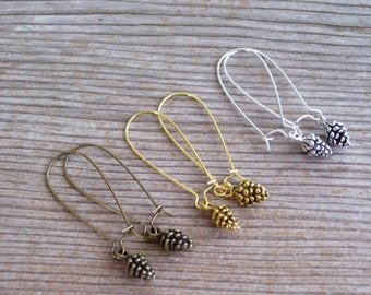 Pine Cone Earrings, Tiny Pinecones, Choice of Antiqued Brass, Copper, Gold, Silver Pine Cone Jewelry, Pierced Dangle Earrings