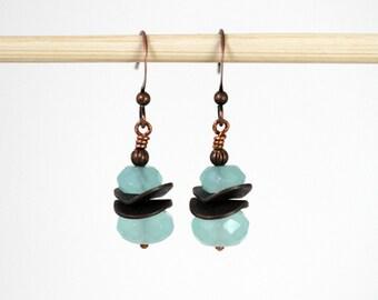 Powder Blue Earrings, Sporty Earrings, Ocean Blue and Antiqued Copper Wavy Disc Dangling Earrings