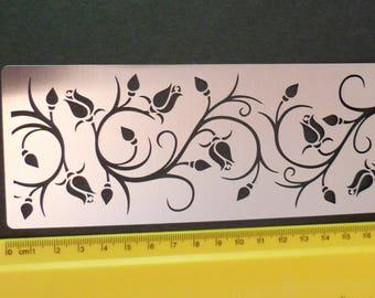 Stainless Steel Stencil Rose Flower Floral Vine Emboss