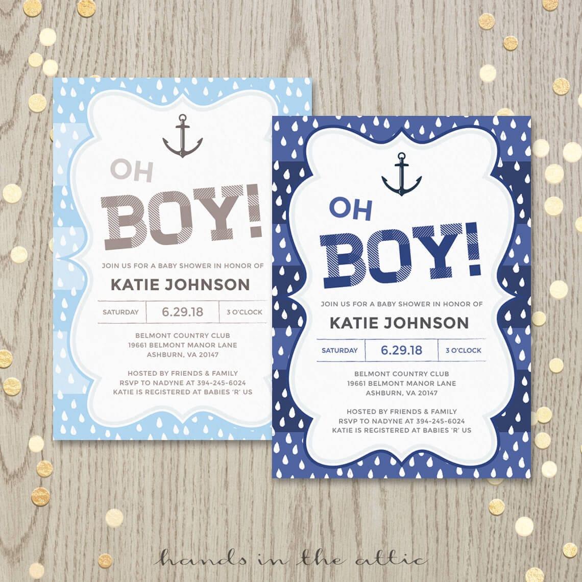 Nautical baby boy invitation oh boy baby shower baby boy