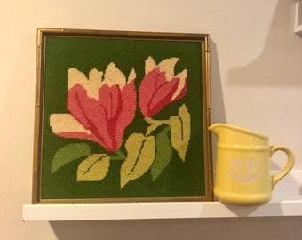Framed floral crewel embroidery art