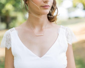 """Rose gold silver necklace and pearls """"Dalia"""""""