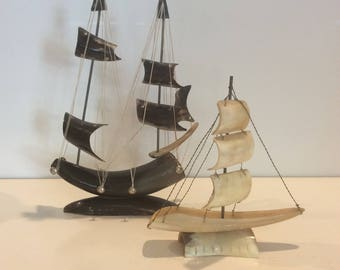 Vintage Hand Carved Horn Ship Figurines