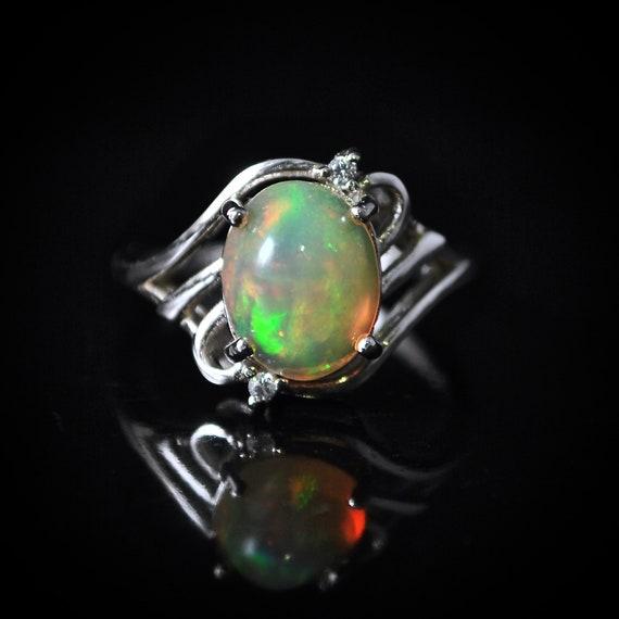 Sterling Silver Opal  Ring Sz 6  #10024