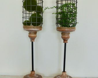 Upcycled Metal and Wood Candle holder set of 2