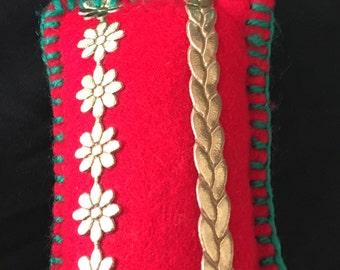 hand made red gold flower felt snowflake lavender bag,drawer/wardrobe sachet,moth repellent,drawer fragrance sachet