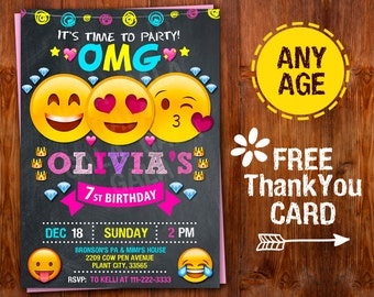 Free Birthday Emojis ~ Emoji invitation emoji party emoji birthday party girls