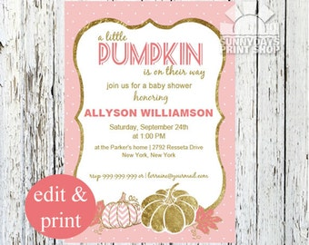 Pumpkin Baby Shower Invitation | Our Little Pumpkin Baby Shower Fall Baby Shower Invitation, Little Pumpkin Baby Shower - INSTANT DOWNLOAD
