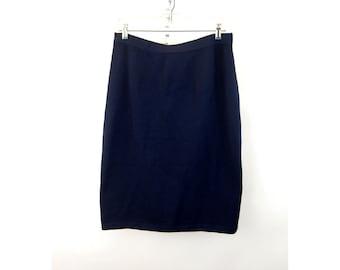 St. John Basics knit skirt navy blue 1980s Santana Knit elastic waist Size 16