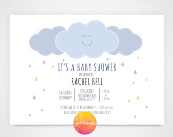 Printable Baby Shower Invitation/ Happy Rain Cloud themed Light Blue's and Gray's/5x7/ Baby Shower Invitation for Mom-To-Be **PRINTABLE