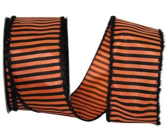 "2 1/2""X20yd Striped Frill Orange & Black Ribbon/Halloween Ribbon/90977W-517"