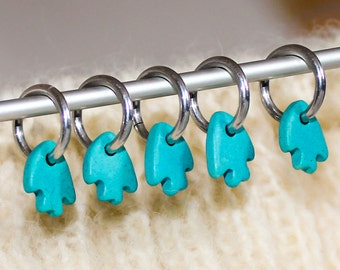 Knitting Stitch Markers, Set of 5 Turquoise Fish, Ceramic & Silver Yarn Stitchmarker Fishie Charms to Mark Stitches Crocheting Knitter Gift