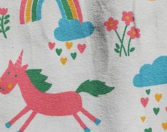 Unicorn jersey, organic jersey, unicorn and rainbow jersey, cotton , dressmaking fabric, crafting fabric, white fabric, patchwork fabric