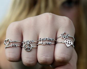 1 pc Intention Ring, Sterling silver stacking ring with Inspirational words and Symbols, perfect gift, Friendship ring, Fearless Love