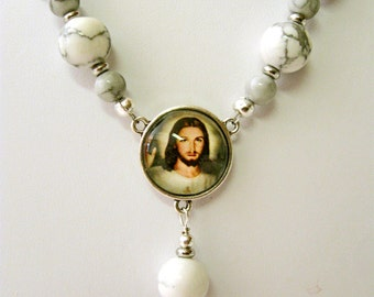Sacred heart of Christ howlite necklace - N1007