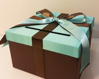 Wedding Card Box Blue /Choco Brown Gift Card Box Money Box Holder-Customize your color (small size 10x10x6)