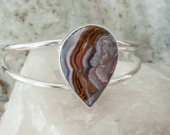 Red Crazy Lace Agate Cuff Bracelet in Sterling Silver