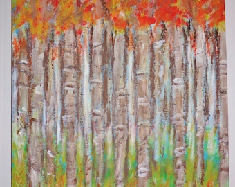 Maple Trees By The Lake Painting