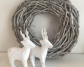 White Reindeer Decoration, Rustic Christmas Decor, Home Decor, White Reindeer Figure, Shabby Chic Reindeer
